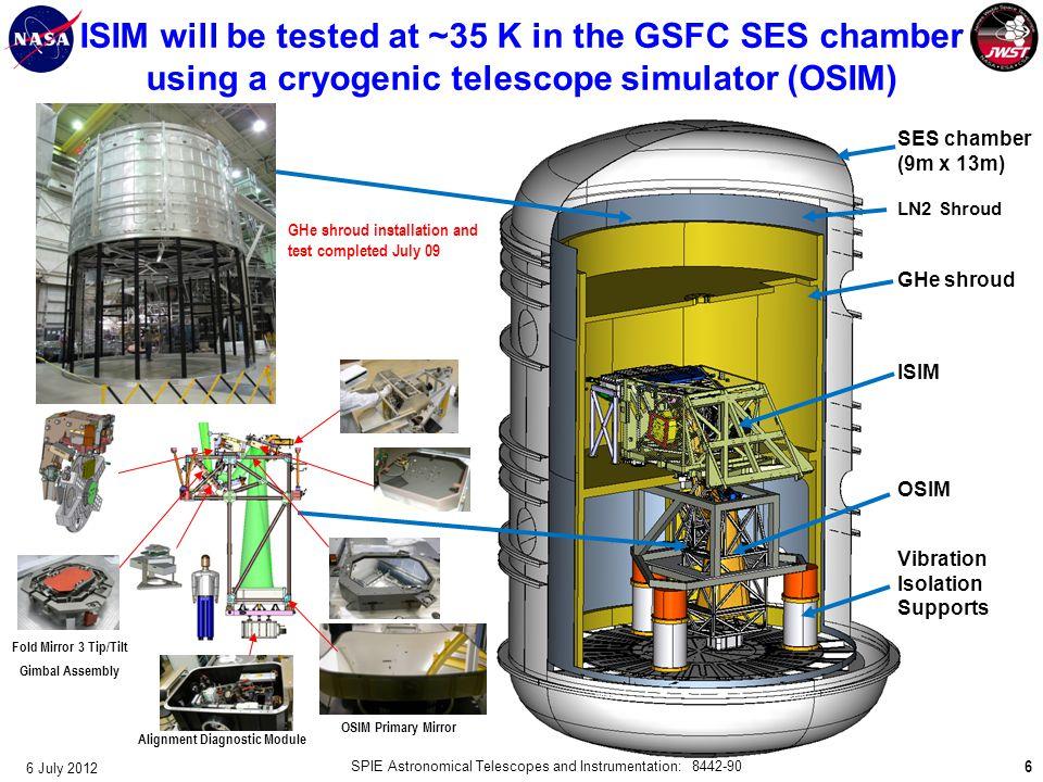 6 SES chamber (9m x 13m) LN2 Shroud GHe shroud ISIM OSIM Vibration Isolation Supports OSIM Primary Mirror Alignment Diagnostic Module Fold Mirror 3 Ti