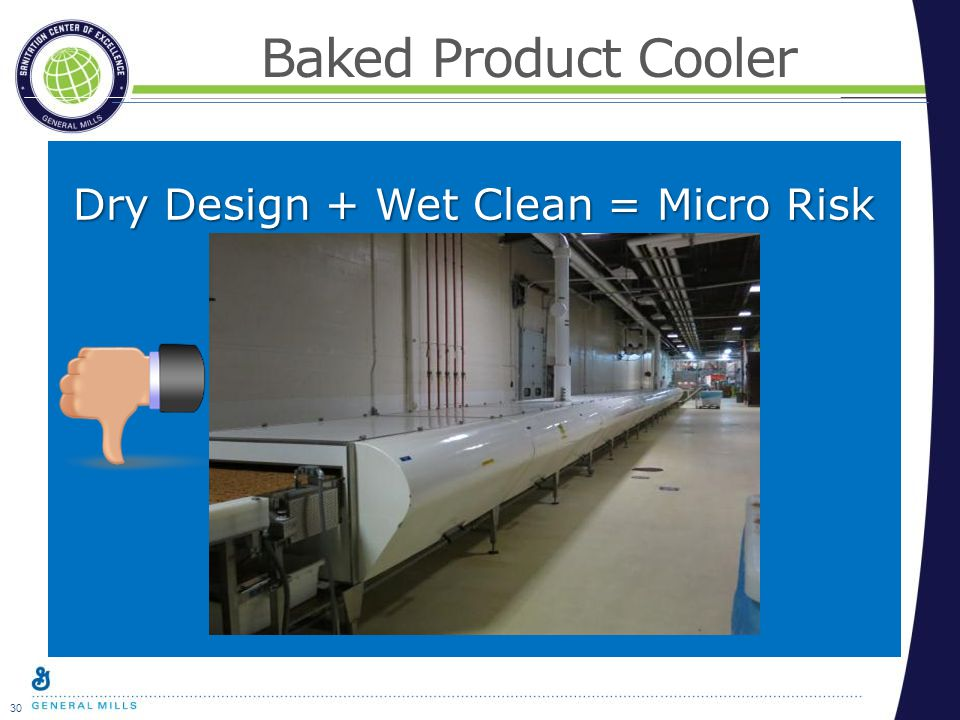 30 Baked Product Cooler Dry Design + Wet Clean = Micro Risk