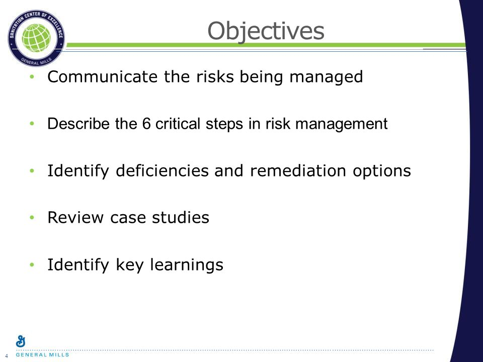 4 Objectives Communicate the risks being managed Describe the 6 critical steps in risk management Identify deficiencies and remediation options Review case studies Identify key learnings