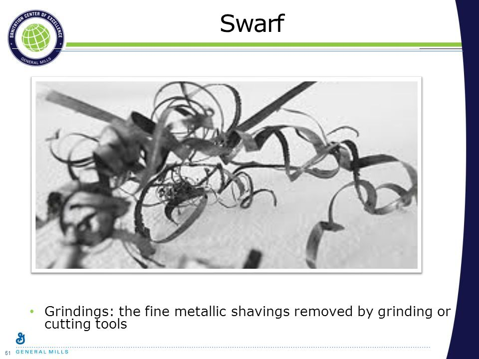 51 Swarf Grindings: the fine metallic shavings removed by grinding or cutting tools