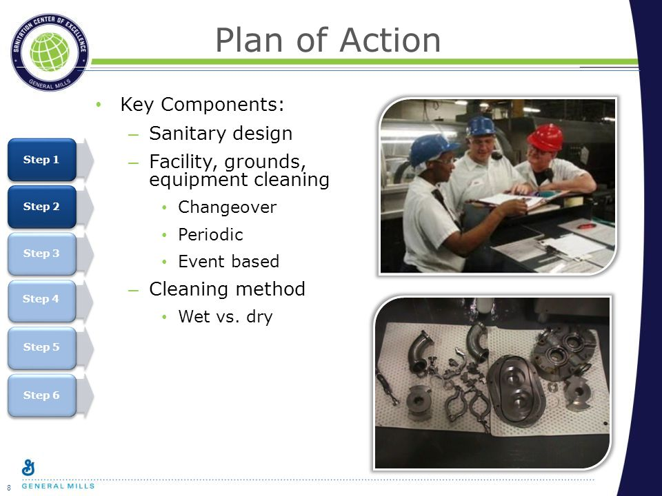 8 Plan of Action Key Components: – Sanitary design – Facility, grounds, equipment cleaning Changeover Periodic Event based – Cleaning method Wet vs.
