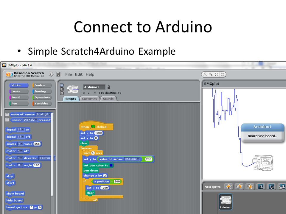 Connect to Arduino Simple Scratch4Arduino Example