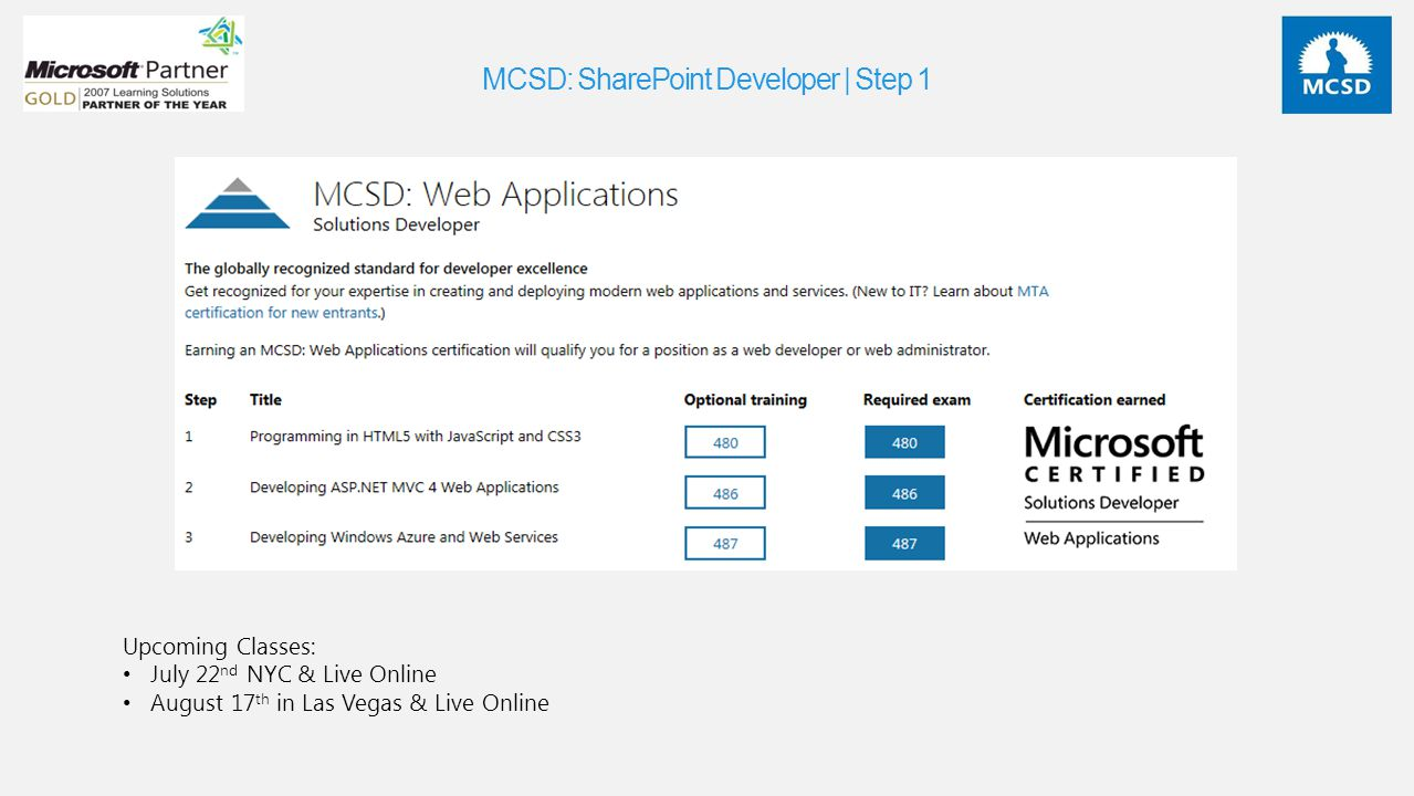 MCSD: SharePoint Developer | Step 1 Upcoming Classes: July 22 nd NYC & Live Online August 17 th in Las Vegas & Live Online
