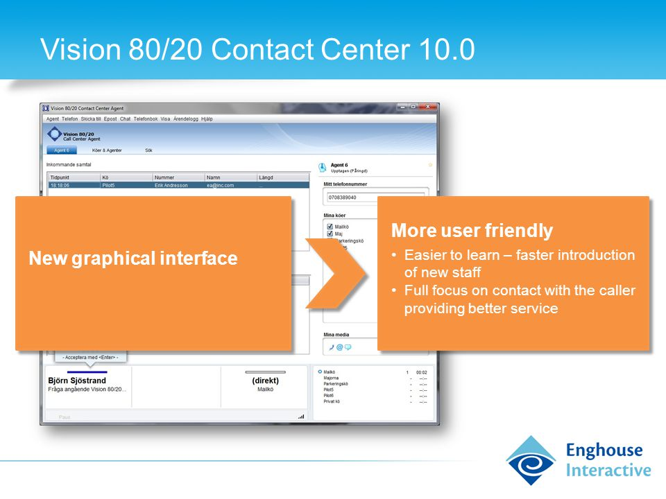 Vision 80/20 Contact Center 10.0 New graphical interface More user friendly Easier to learn – faster introduction of new staff Full focus on contact with the caller providing better service