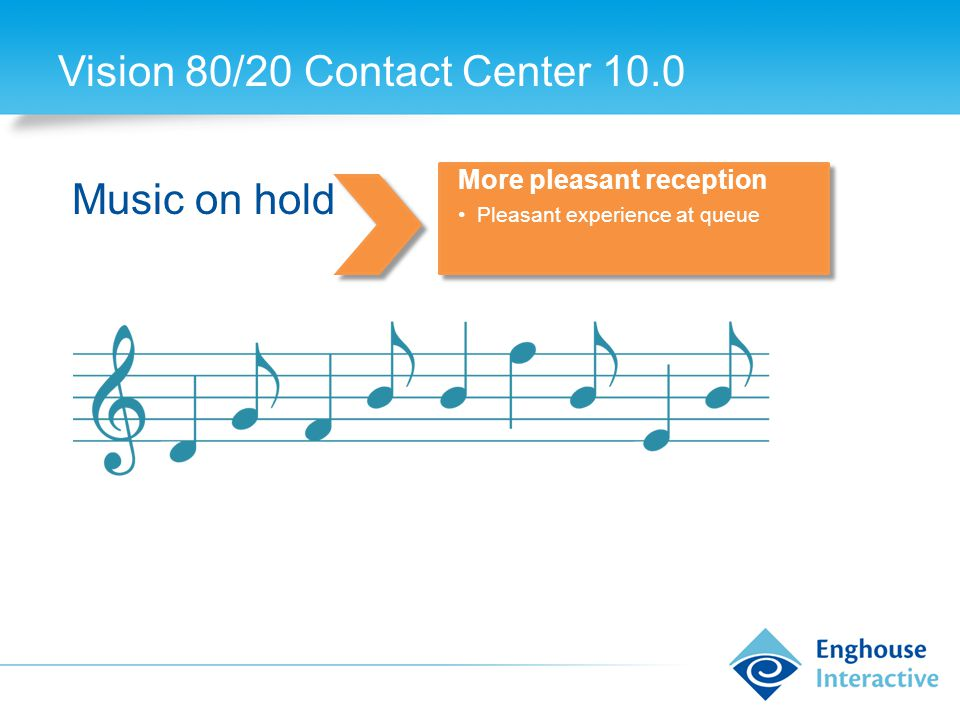 Vision 80/20 Contact Center 10.0 Music on hold More pleasant reception Pleasant experience at queue