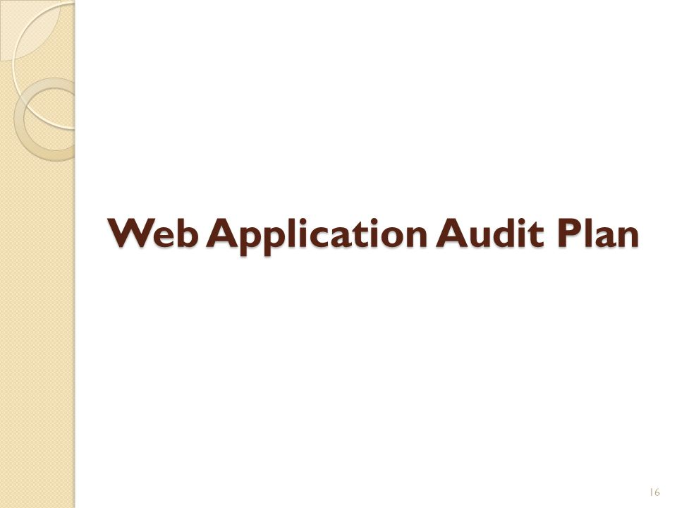 Web Application Audit Plan 16