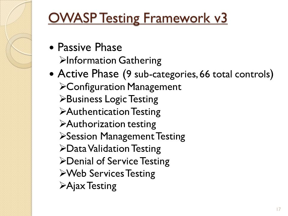 OWASP Testing Framework v3 Passive Phase  Information Gathering Active Phase ( 9 sub-categories, 66 total controls )  Configuration Management  Bus
