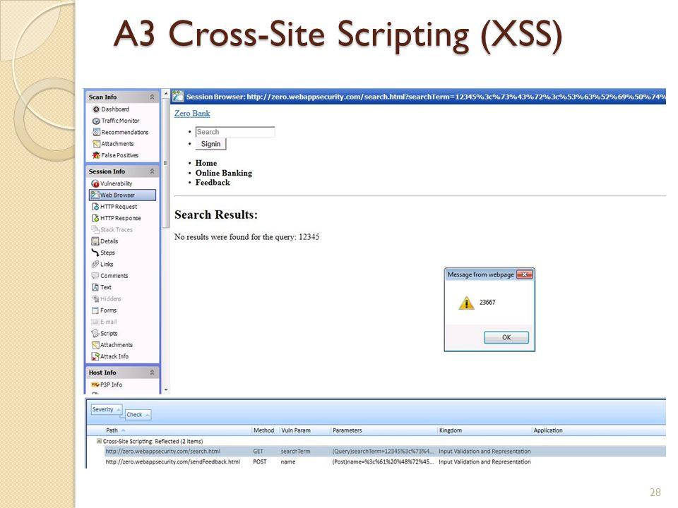 A3 Cross-Site Scripting (XSS) 28
