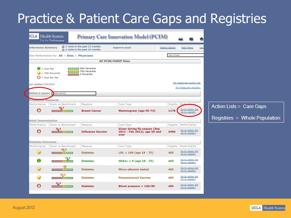 Practice & Patient Care Gaps and Registries Action Lists = Care Gaps Registries = Whole Population August 2012