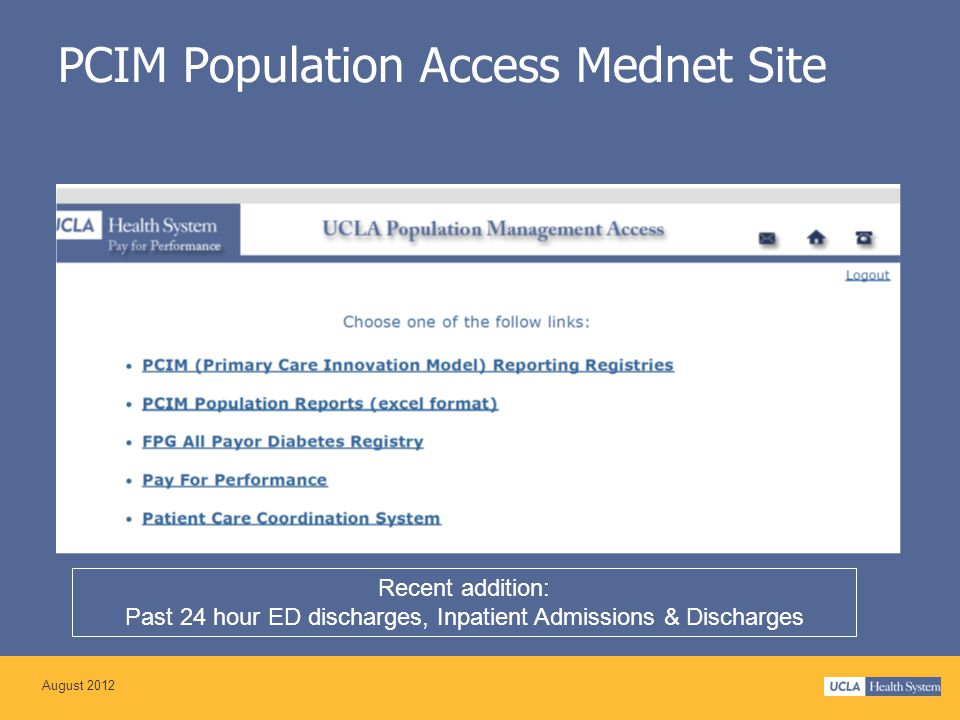 PCIM Population Access Mednet Site Recent addition: Past 24 hour ED discharges, Inpatient Admissions & Discharges August 2012
