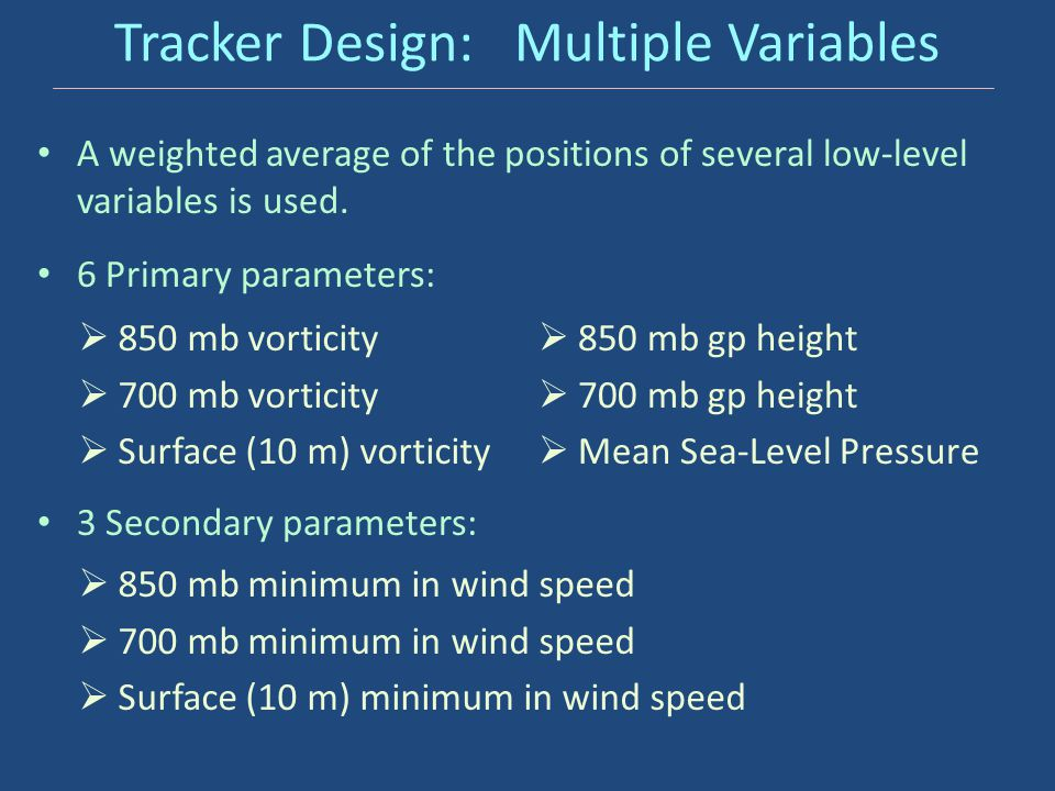 Tracker Design: Multiple Variables A weighted average of the positions of several low-level variables is used. 6 Primary parameters:  850 mb vorticit
