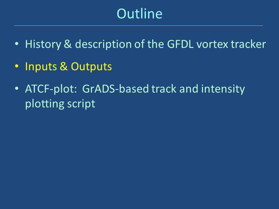 Outline History & description of the GFDL vortex tracker Inputs & Outputs ATCF-plot: GrADS-based track and intensity plotting script