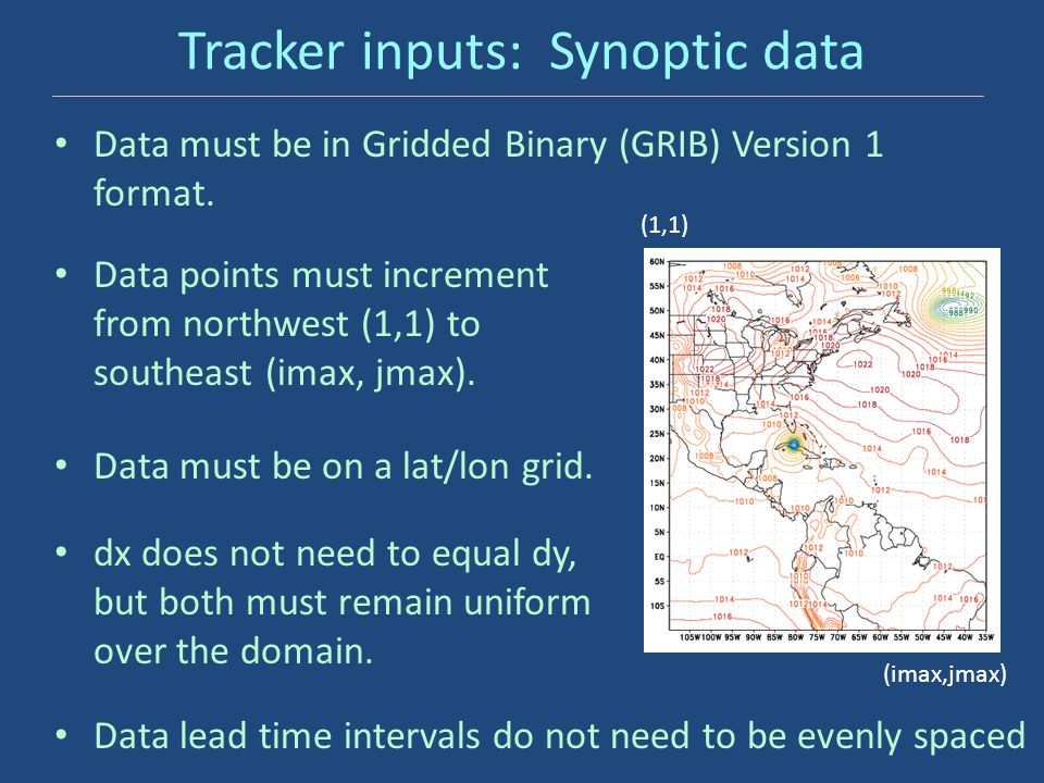 Tracker inputs: Synoptic data Data must be in Gridded Binary (GRIB) Version 1 format. Data points must increment from northwest (1,1) to southeast (im