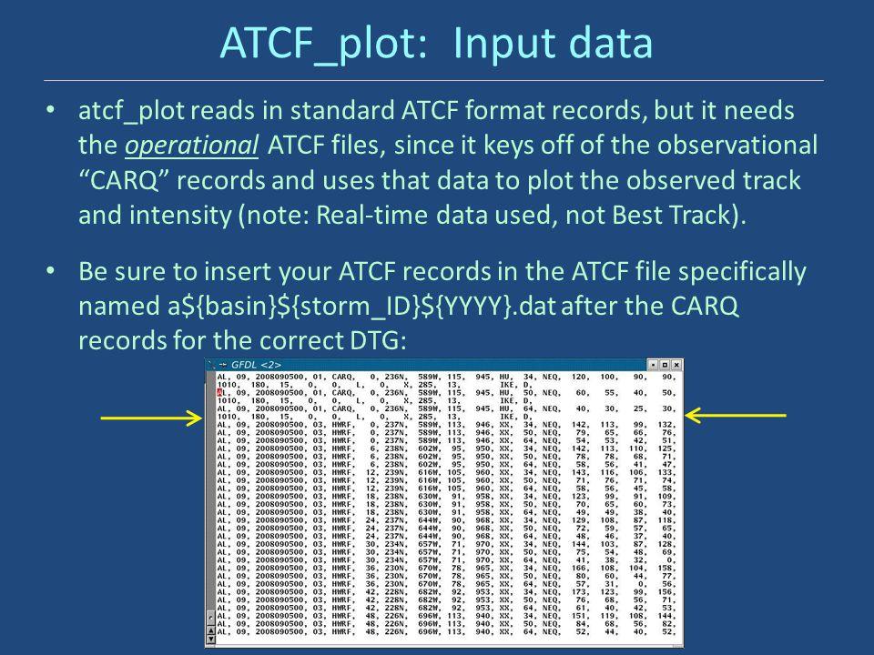 ATCF_plot: Input data atcf_plot reads in standard ATCF format records, but it needs the operational ATCF files, since it keys off of the observational