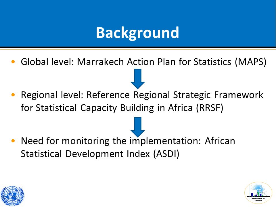 African Centre for Statistics ASDI: Structure RRSF: 12 Strategies and 79 recommendations  79 potential variables for ASDI Criteria of selection: validity, comparability, simplicity, and data availability Results: 42 variables organized in five components –Functioning of the national statistical system (NSS) –Statistical infrastructure –Data dissemination –Human capital –Funding