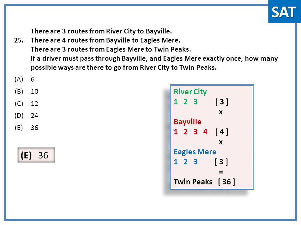 25. There are 3 routes from River City to Bayville.