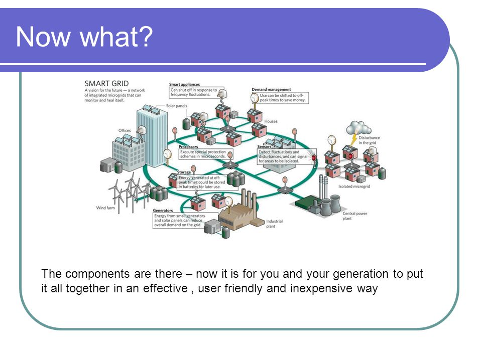 Now what? The components are there – now it is for you and your generation to put it all together in an effective, user friendly and inexpensive way