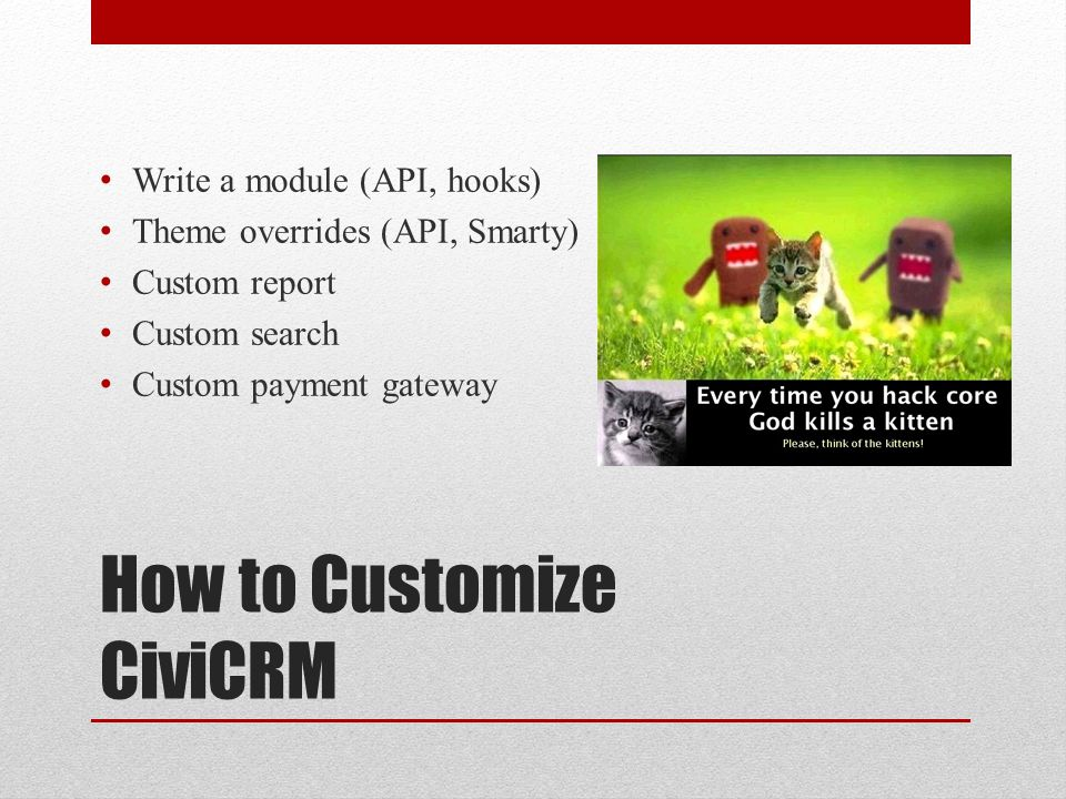 How to Customize CiviCRM Write a module (API, hooks) Theme overrides (API, Smarty) Custom report Custom search Custom payment gateway
