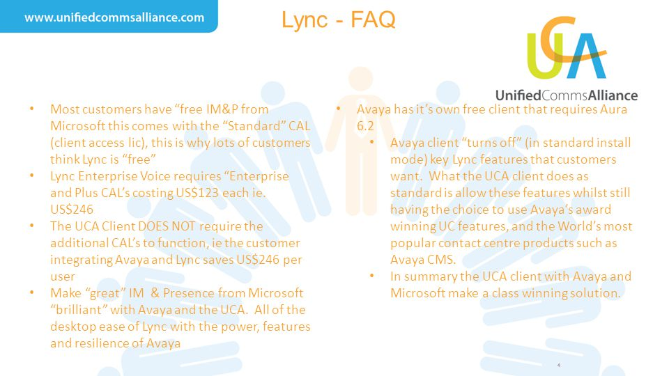 "4 Lync - FAQ Most customers have ""free IM&P from Microsoft this comes with the ""Standard"" CAL (client access lic), this is why lots of customers think"