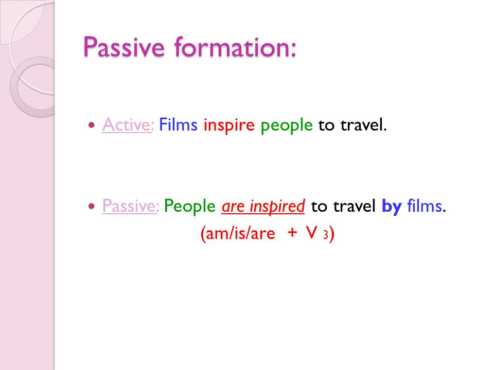 Passive formation: Active: Films inspire people to travel. Passive: People are inspired to travel by films. (am/is/are + V 3 )