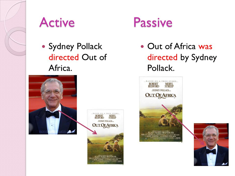 ActivePassive Sydney Pollack directed Out of Africa. Out of Africa was directed by Sydney Pollack.