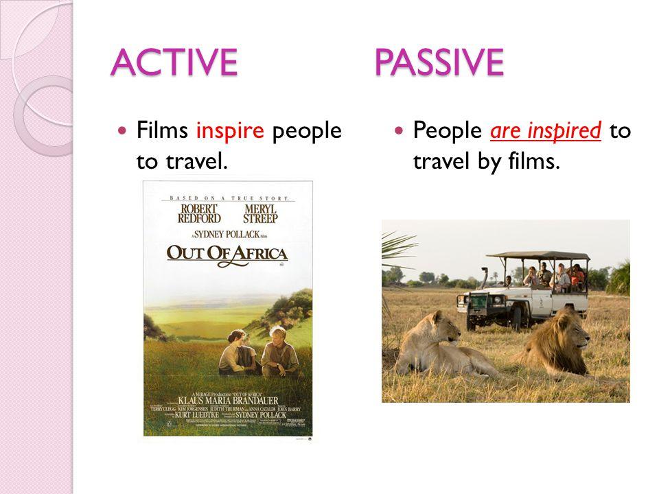 ACTIVEPASSIVE Films inspire people to travel. People are inspired to travel by films.