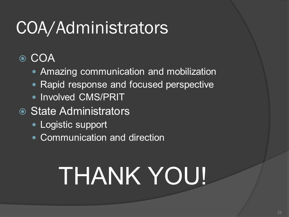 COA/Administrators  COA Amazing communication and mobilization Rapid response and focused perspective Involved CMS/PRIT  State Administrators Logistic support Communication and direction THANK YOU.