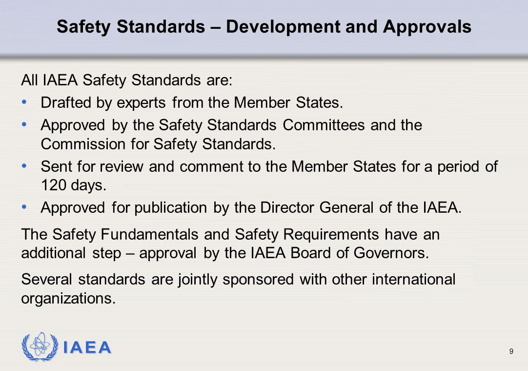 IAEA 10 There is only one fundamentals-level standard (SF-1).