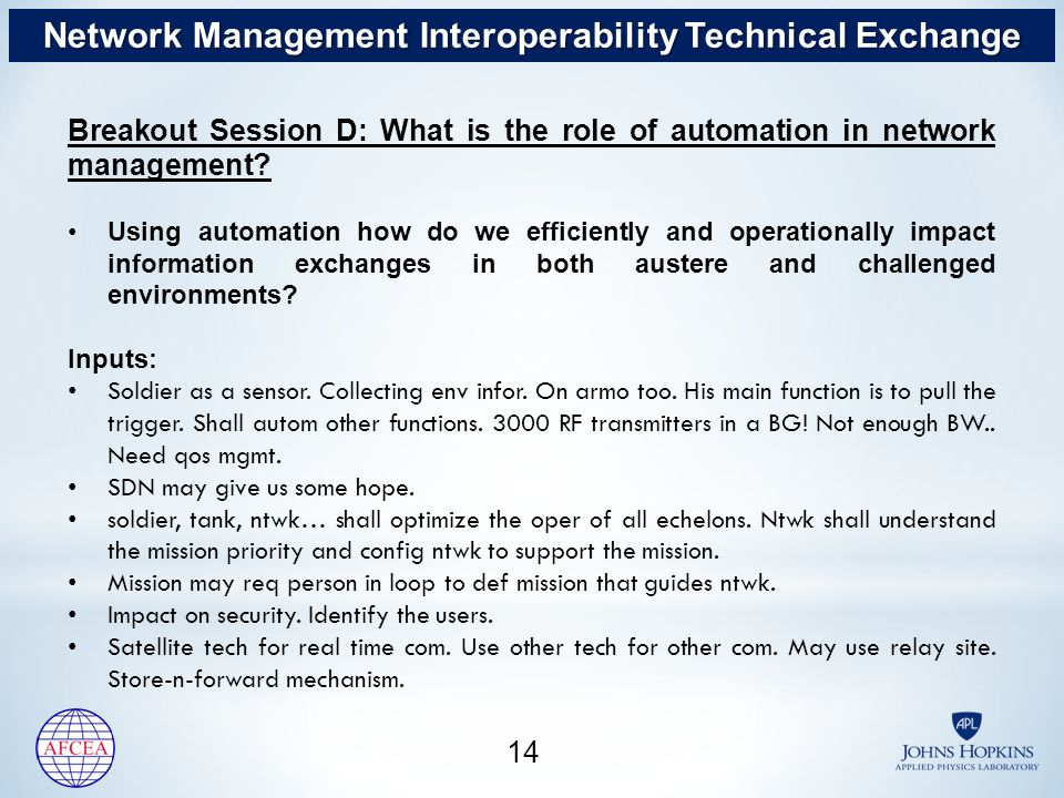 14 Breakout Session D: What is the role of automation in network management.