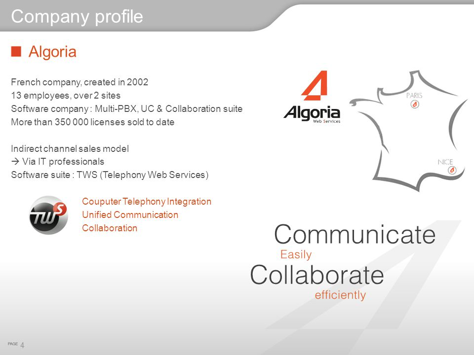 Algoria French company, created in 2002 13 employees, over 2 sites Software company : Multi-PBX, UC & Collaboration suite More than 350 000 licenses s