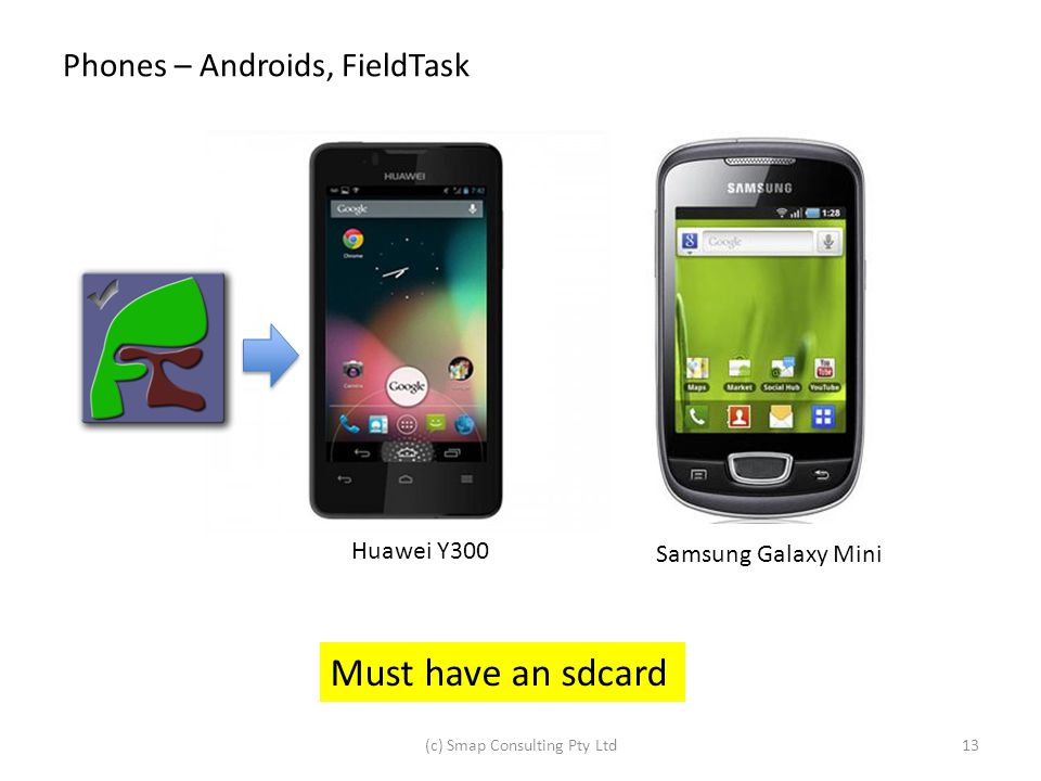 Phones – Androids, FieldTask Huawei Y300 Samsung Galaxy Mini (c) Smap Consulting Pty Ltd13 Must have an sdcard