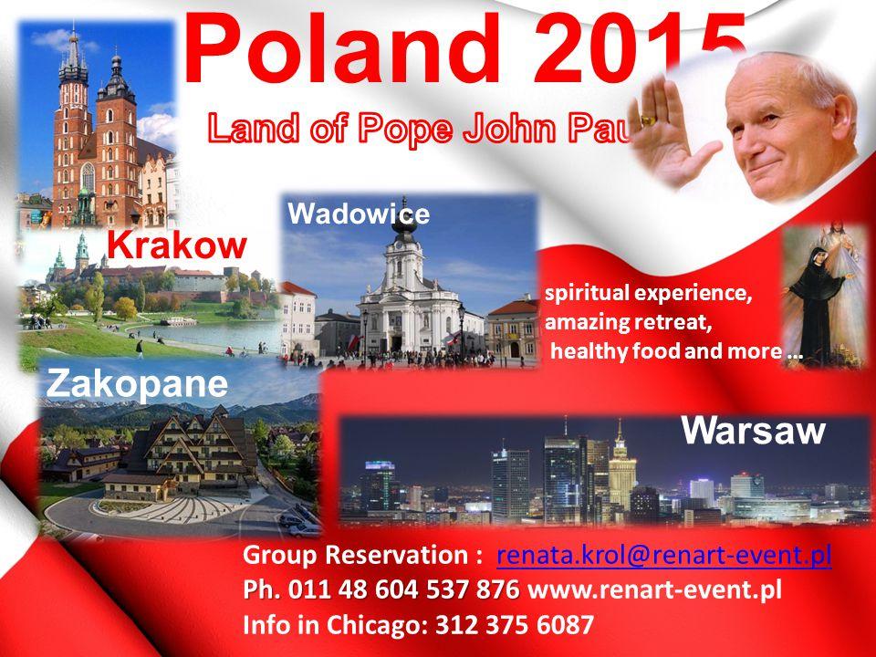 Group Reservation : renata.krol@renart-event.plrenata.krol@renart-event.pl Ph. 011 48 604 537 876 Ph. 011 48 604 537 876 www.renart-event.pl Info in C