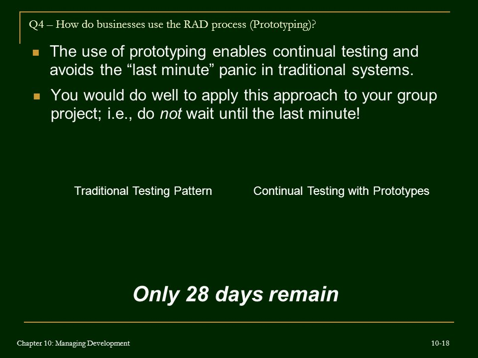 "The use of prototyping enables continual testing and avoids the ""last minute"" panic in traditional systems. Traditional Testing Pattern Q4 – How do bu"