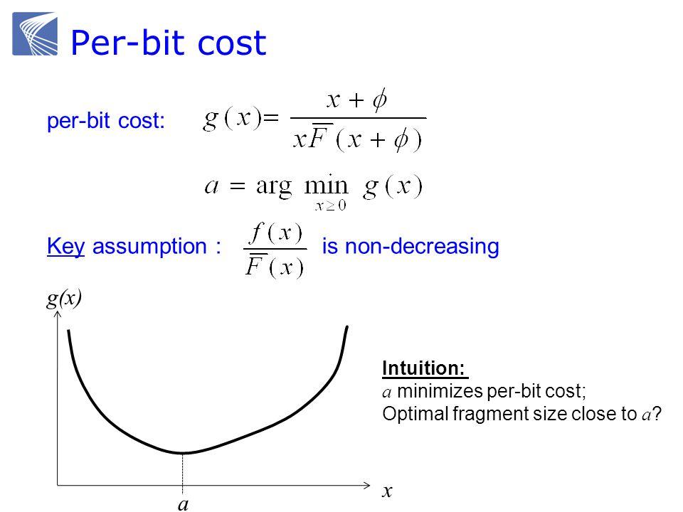 Per-bit cost per-bit cost: x g(x) a Key assumption : is non-decreasing Intuition: a minimizes per-bit cost; Optimal fragment size close to a ?