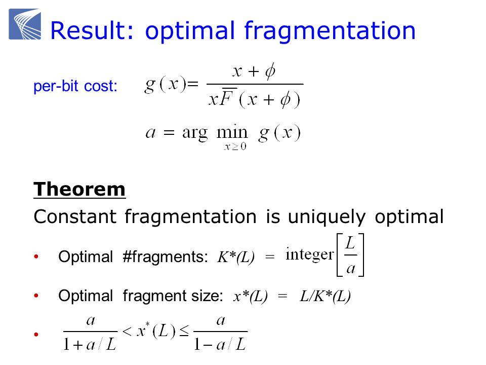 Result: optimal fragmentation Theorem Constant fragmentation is uniquely optimal Optimal #fragments: K*(L) = Optimal fragment size: x*(L) = L/K*(L) pe