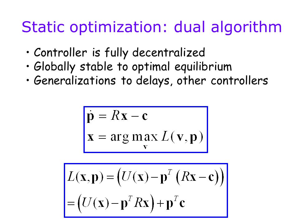 Controller is fully decentralized Globally stable to optimal equilibrium Generalizations to delays, other controllers