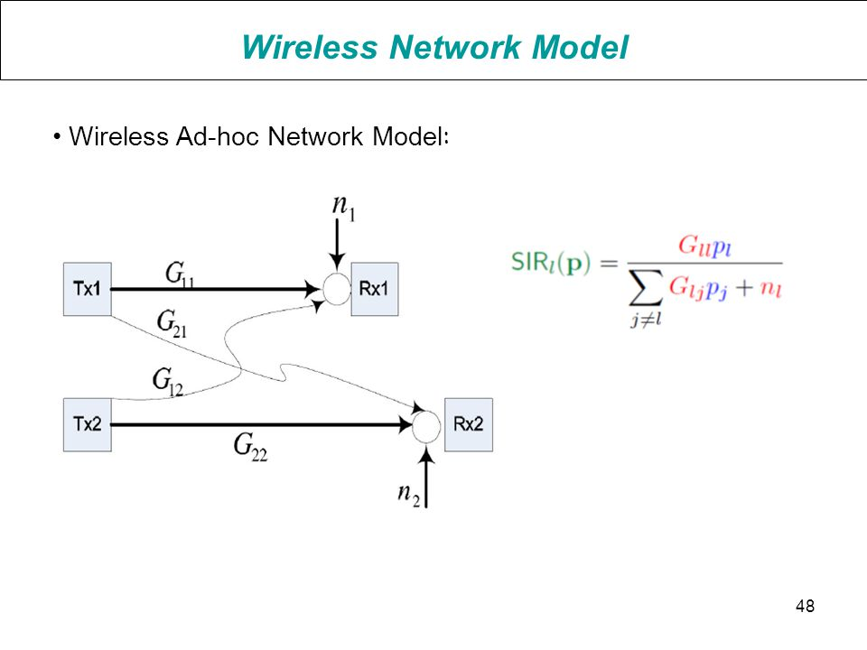 Wireless Network Model Wireless Ad-hoc Network Model : 48