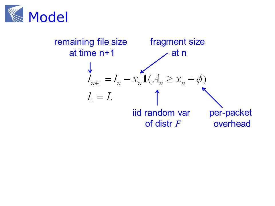 Model remaining file size at time n+1 fragment size at n per-packet overhead iid random var of distr F
