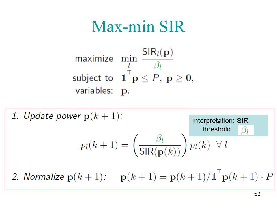 Max-min SIR 53 Interpretation: SIR threshold