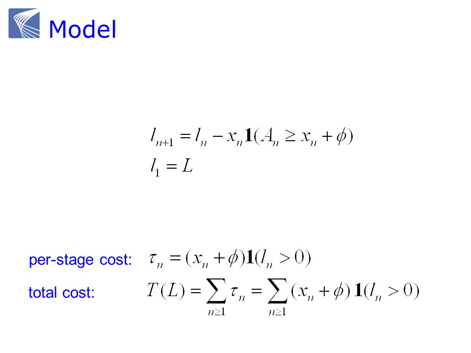 Model per-stage cost: total cost: