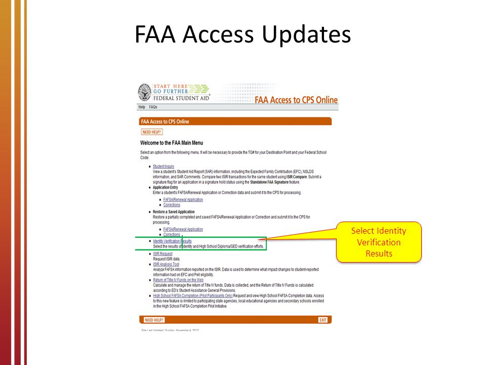 FAA Access Updates Select Identity Verification Results
