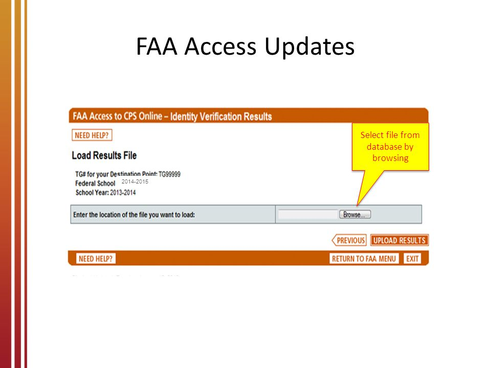 FAA Access Updates Select file from database by browsing 2014-2015