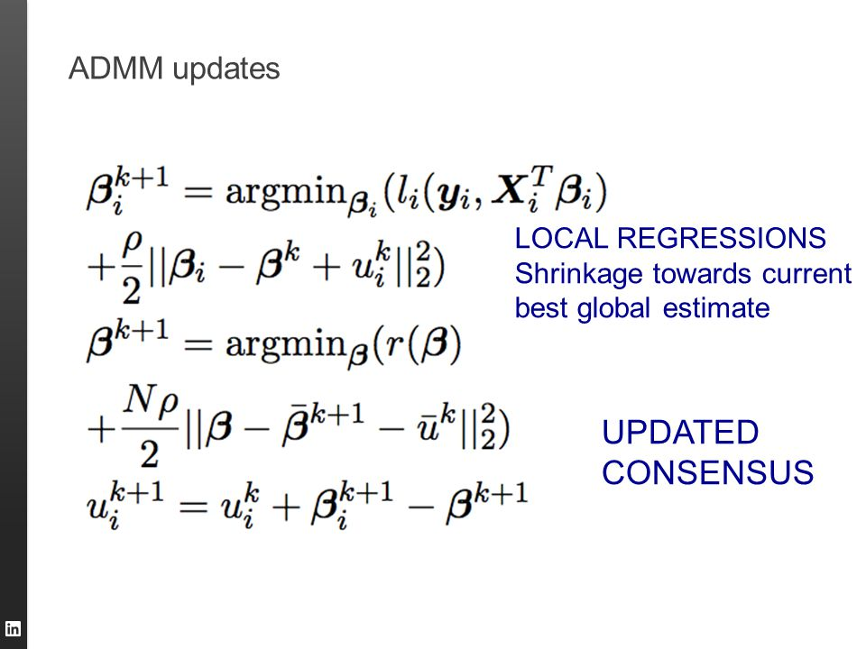 ADMM updates LOCAL REGRESSIONS Shrinkage towards current best global estimate UPDATED CONSENSUS