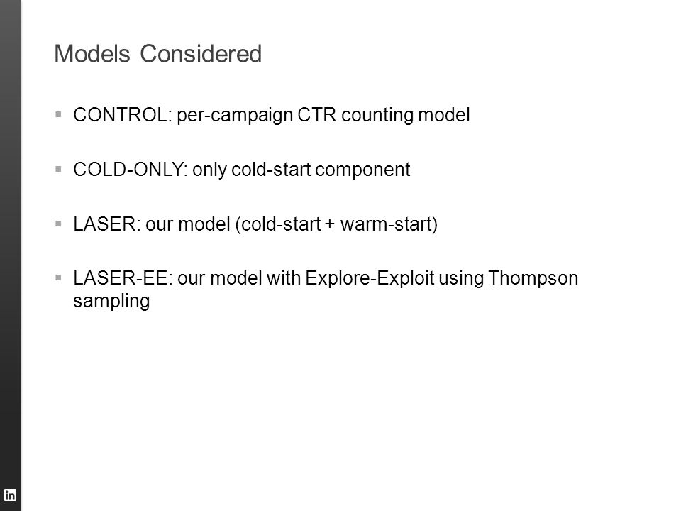Models Considered  CONTROL: per-campaign CTR counting model  COLD-ONLY: only cold-start component  LASER: our model (cold-start + warm-start)  LAS