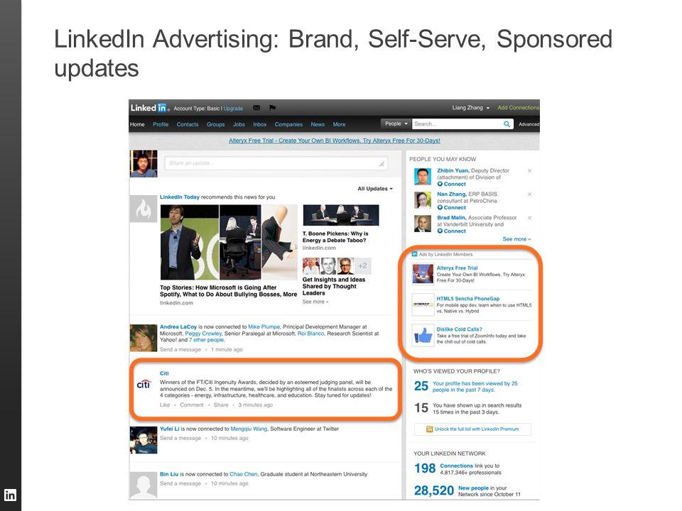 LinkedIn Advertising: Brand, Self-Serve, Sponsored updates