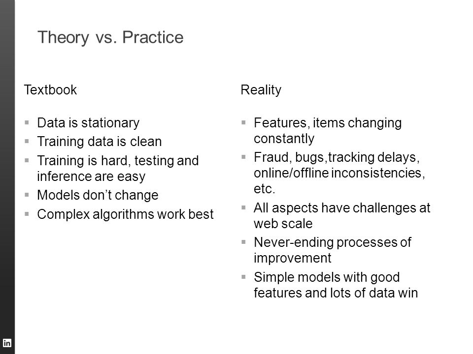 Theory vs. Practice Textbook  Data is stationary  Training data is clean  Training is hard, testing and inference are easy  Models don't change 