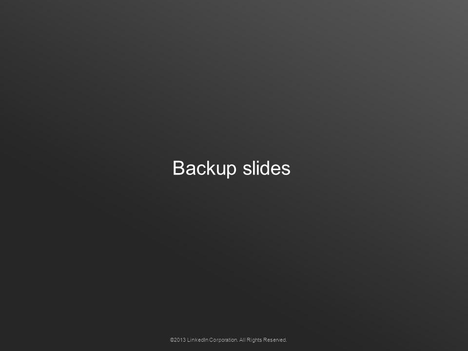 Backup slides ©2013 LinkedIn Corporation. All Rights Reserved.