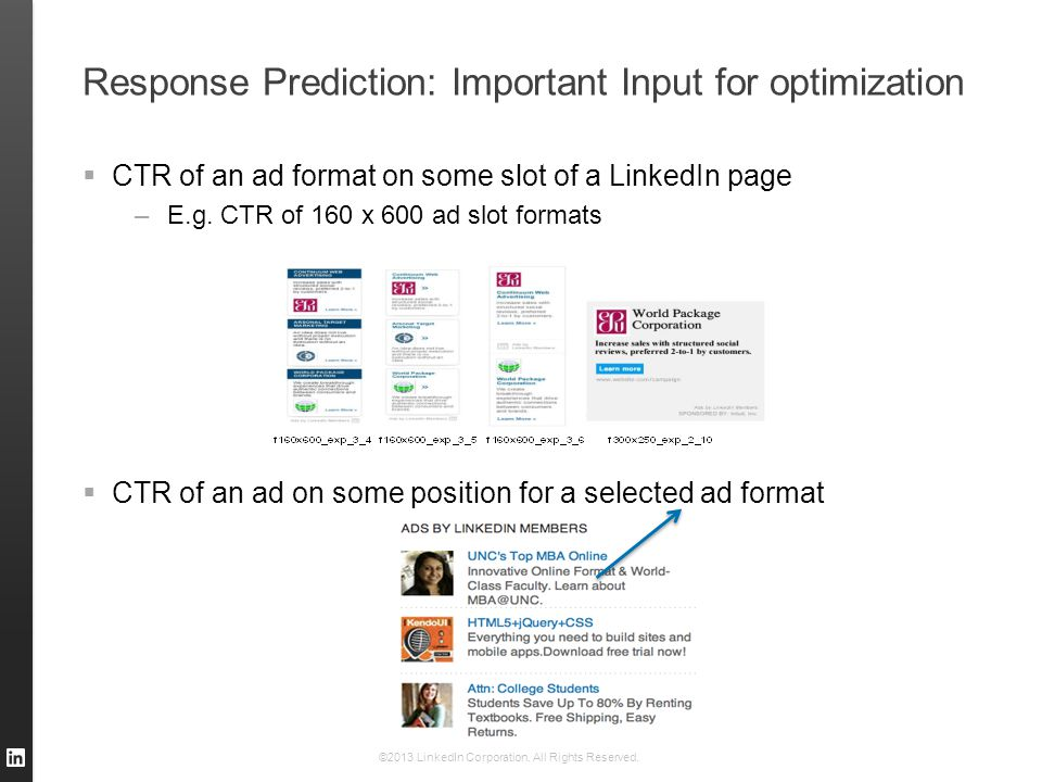 Response Prediction: Important Input for optimization  CTR of an ad format on some slot of a LinkedIn page –E.g. CTR of 160 x 600 ad slot formats  C