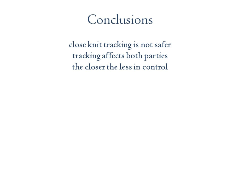 close knit tracking is not safer tracking affects both parties the closer the less in control Conclusions