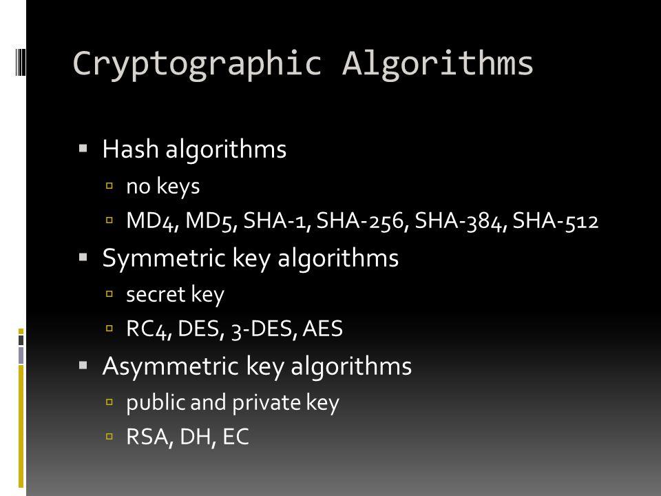 Cryptographic Algorithms  Hash algorithms  no keys  MD4, MD5, SHA-1, SHA-256, SHA-384, SHA-512  Symmetric key algorithms  secret key  RC4, DES,